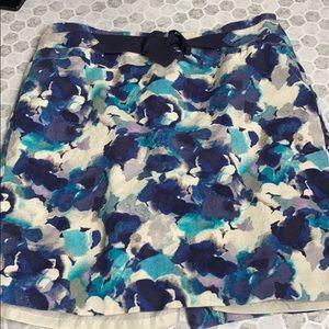 Loft Petites 12P Floral Multicolor Skirt